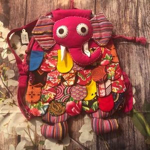 {BOUTIQUE} BOHO elephant girl pink small backpack